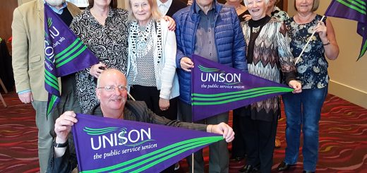 Irvine seniors members attend reestablished Unison retired members meeting.